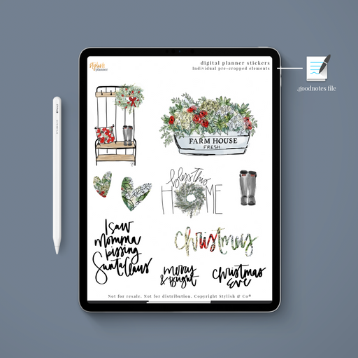 (Goodnotes File) Farmhouse Christmas Digital Planner Stickers - Stylish & Co by Britt Mills