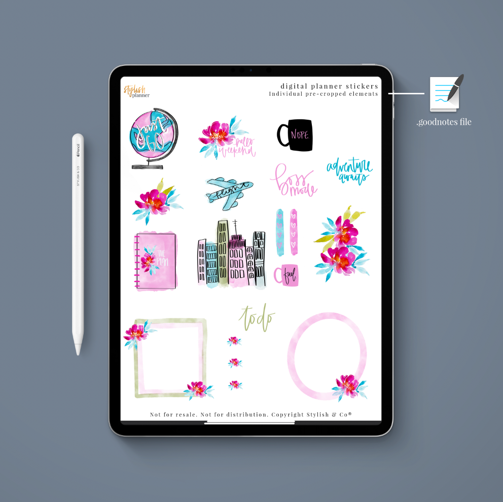 Stylish Planners Home Decor and Stylish Gifts - (Goodnotes File) Just Go Digital Planner Stickers