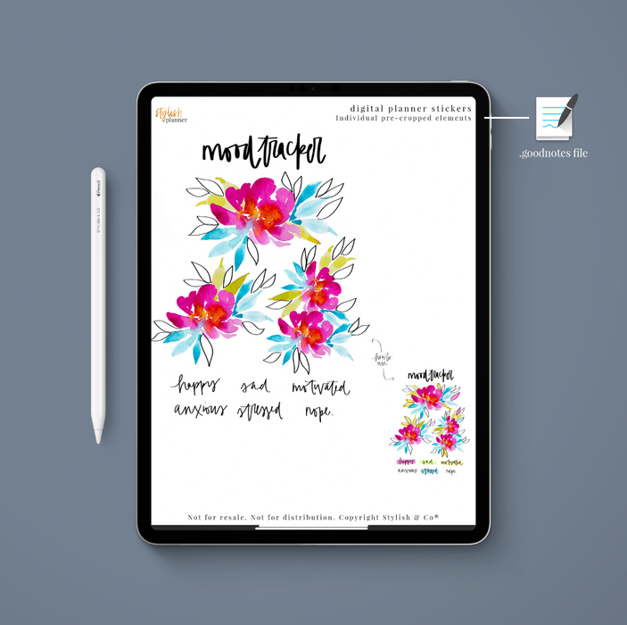 Stylish Planners Home Decor and Stylish Gifts - (Goodnotes File) Floral Mood Tracker Digital Planner Stickers