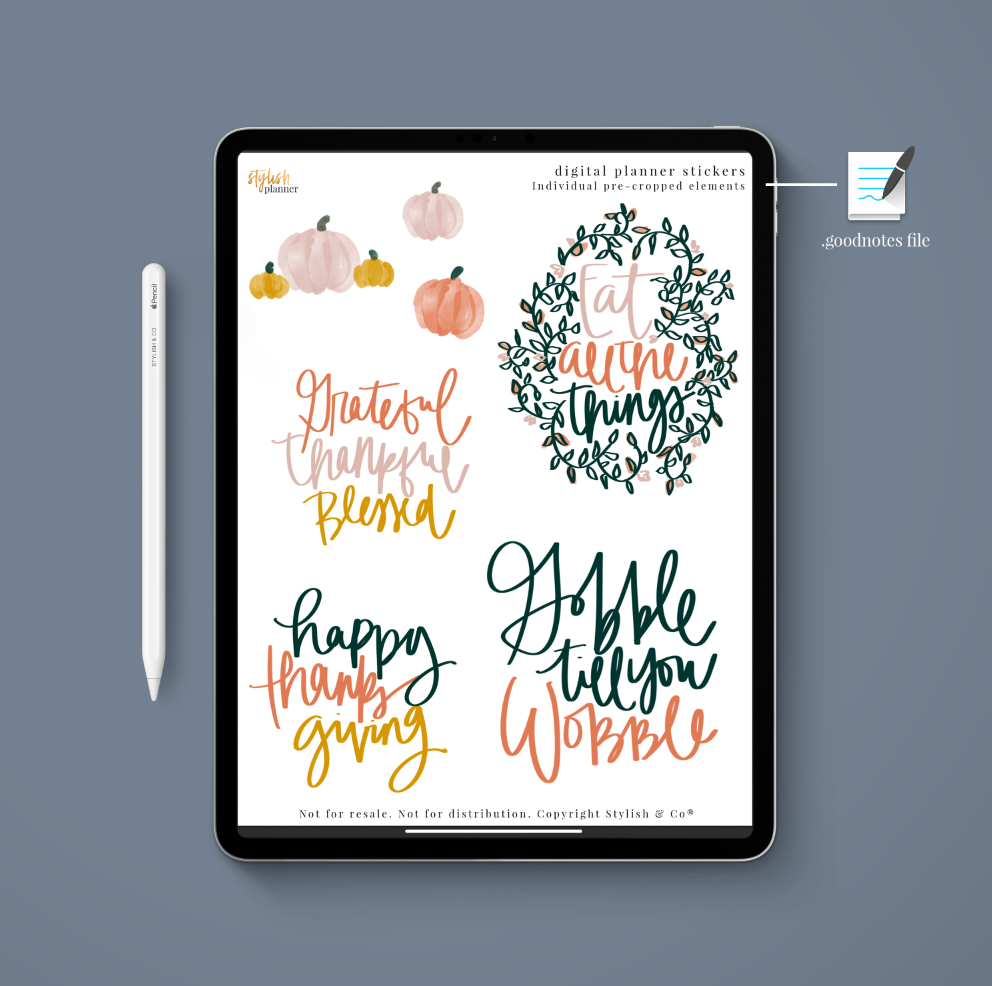 Stylish Planners Home Decor and Stylish Gifts - (Goodnotes File) Thanksgiving Digital Planner Stickers