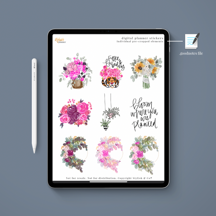 Stylish Planners Home Decor and Stylish Gifts - (Goodnotes File) Flower Digital Planner Stickers