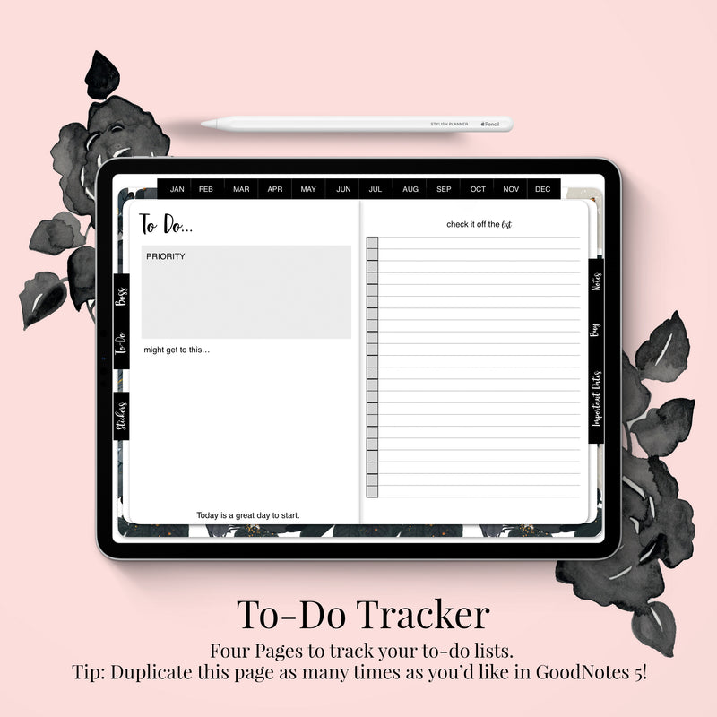 Stylish Planners Home Decor and Stylish Gifts - Undated Black Bloom Deluxe Digital Planner - 12 months (Horizontal Layout)