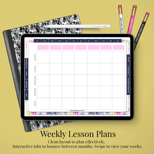 (GoodNotes File) Styled Bright Digital Teacher Life Planner / Lesson Planner - Undated 12 months - Stylish & Co by Britt Mills