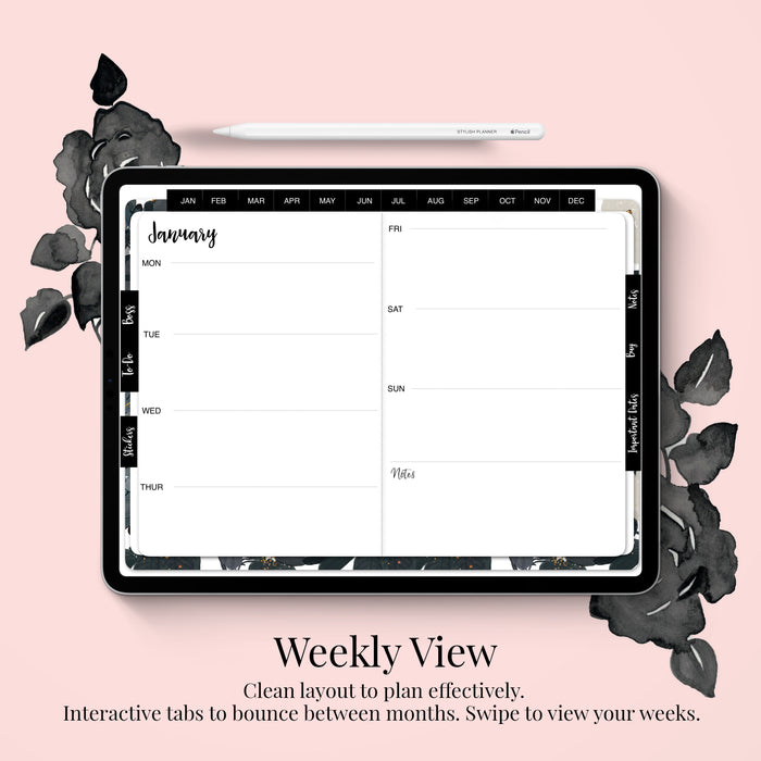 Stylish Planners Home Decor and Stylish Gifts - (GoodNotes File) Undated Black Bloom Deluxe Digital Planner - 12 months (Horizontal Layout)