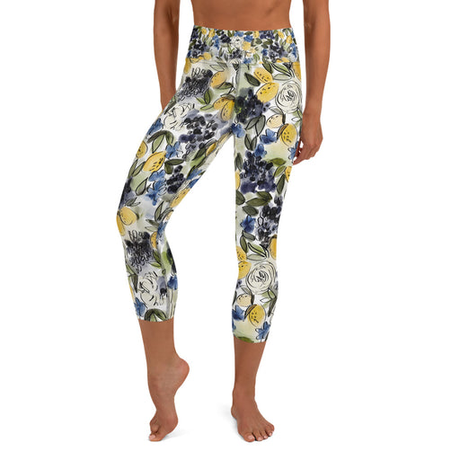 Stylish Planners Home Decor and Stylish Gifts - Citrus Chic - So Soft Adult Capri Yoga Leggings (Matching Mommy + Me Design)