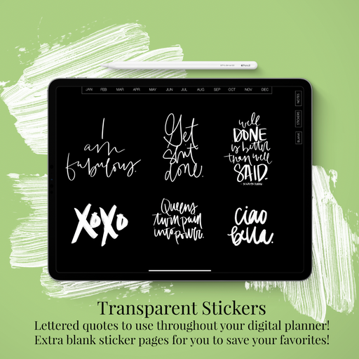 Stylish Planners Home Decor and Stylish Gifts - (GoodNotes File) Undated Blackout xoxo Deluxe Digital Planner - 12 months (Vertical Layout)