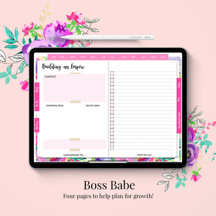 Stylish Planners Home Decor and Stylish Gifts - (GoodNotes File) Undated Pippa Deluxe Digital Planner - 12 months (Horizontal Layout)
