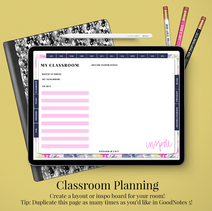 Stylish Planners Home Decor and Stylish Gifts - (GoodNotes File) Styled Bright Digital Teacher Life Planner / Lesson Planner - Undated 12 months