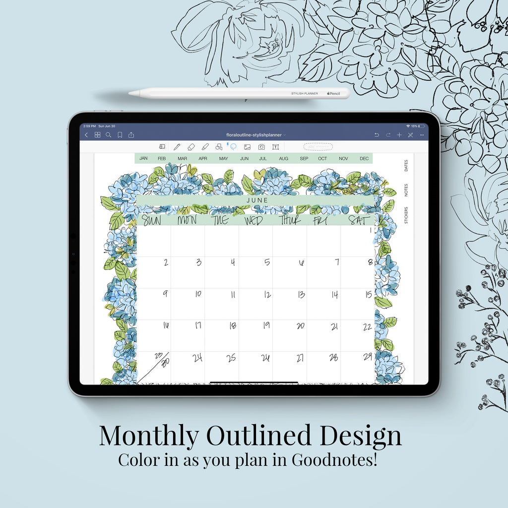 Stylish Planners Home Decor and Stylish Gifts - Outlined Flowers Vertical Digital Planner - Undated 12 months