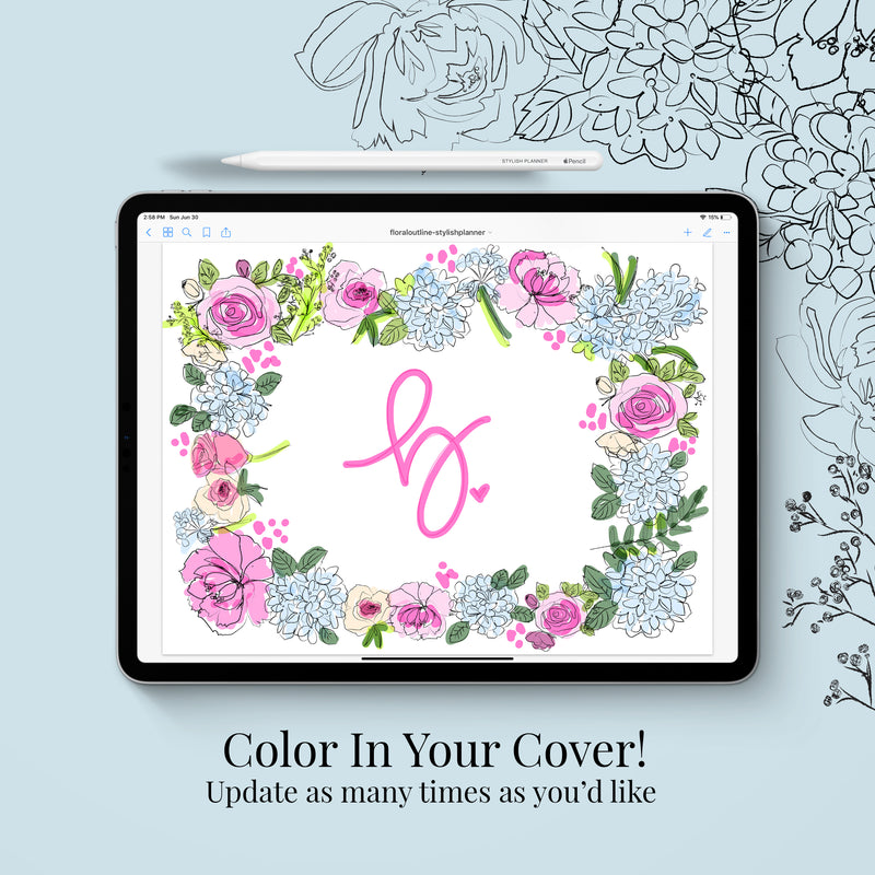 Stylish Planners Home Decor and Stylish Gifts - Undated Outlined Floral Deluxe Digital Planner - 12 months (Vertical Layout)