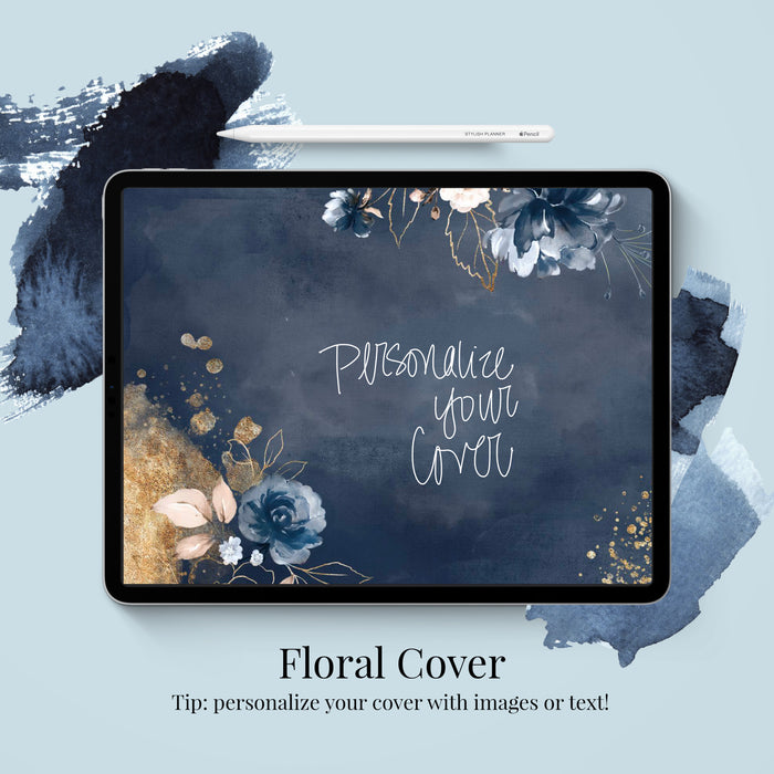 Stylish Planners Home Decor and Stylish Gifts - (GoodNotes File) Undated Indigo Digital Planner - 12 months (Hourly Layout)