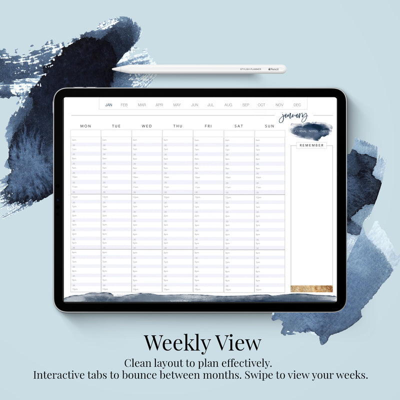 Stylish Planners Home Decor and Stylish Gifts - Undated Indigo Digital Planner - 12 months (Hourly Layout)