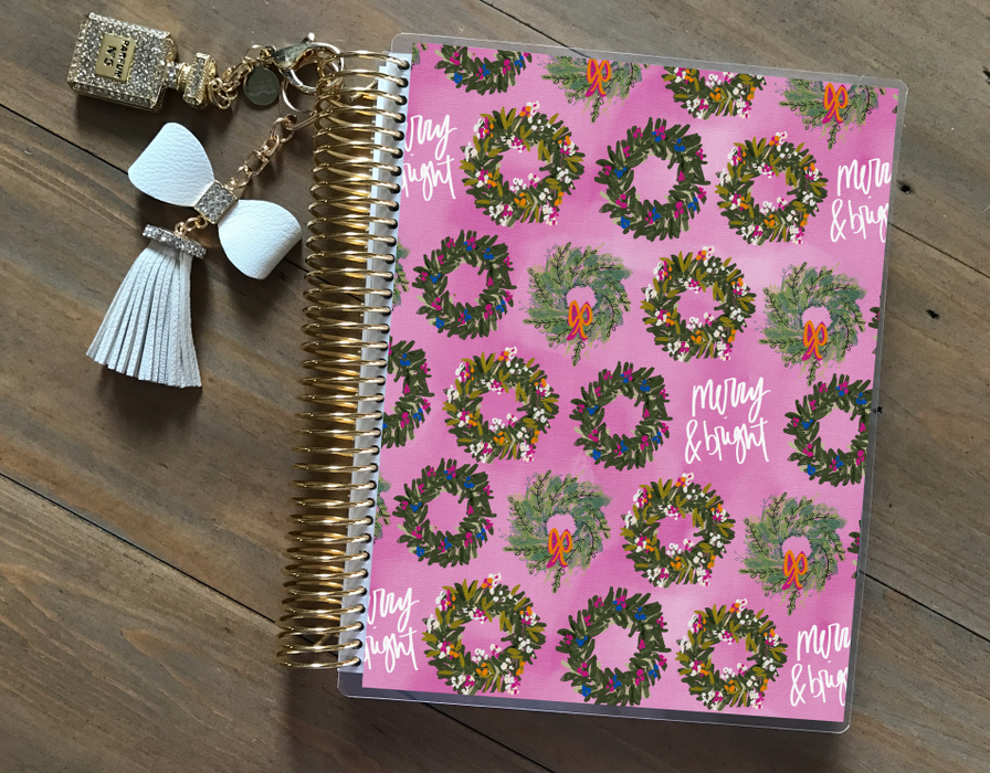 Stylish Planners Home Decor and Stylish Gifts - Pink Wreaths Planner Cover