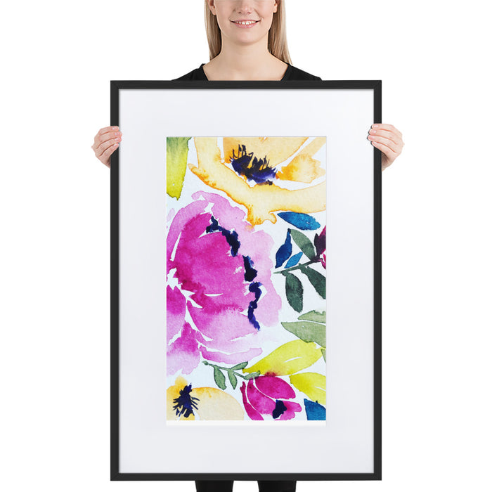 Painted Peony - Framed Artwork With Mat