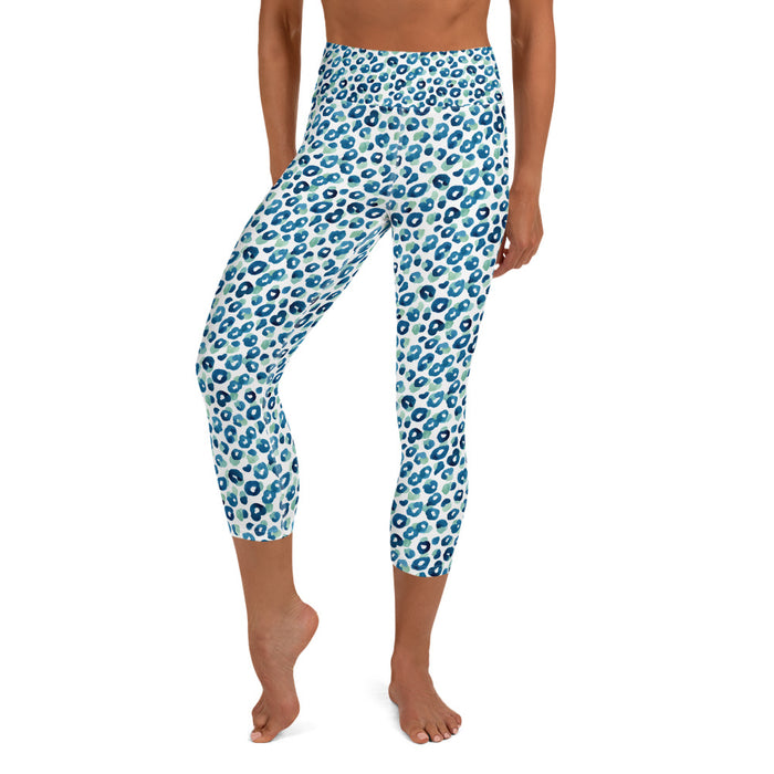 Stylish Planners Home Decor and Stylish Gifts - Aqua Spots - So Soft Adult Capri Yoga Leggings (Matching Mommy + Me Design)