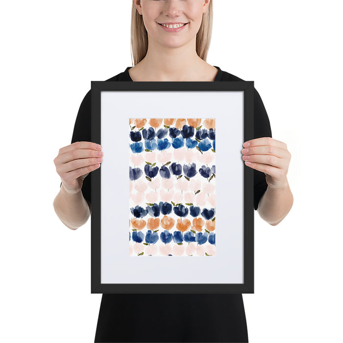 Blue Tulips - Framed Artwork With Mat