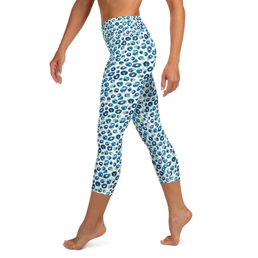 Stylish Planners Home Decor and Stylish Gifts - Aqua Spots - So Soft Adult Capri Yoga Leggings