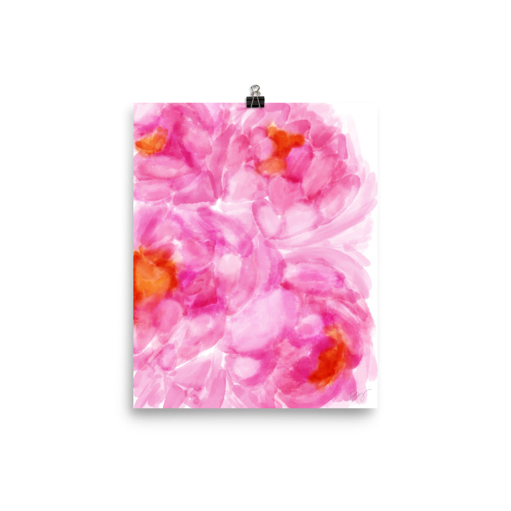 Stylish Planner and Stylish Gifts - (Various Sizes) Pink Peony Petals - Wall Print Frame Not Included