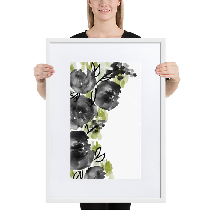 Black Buds - Framed Artwork With Mat