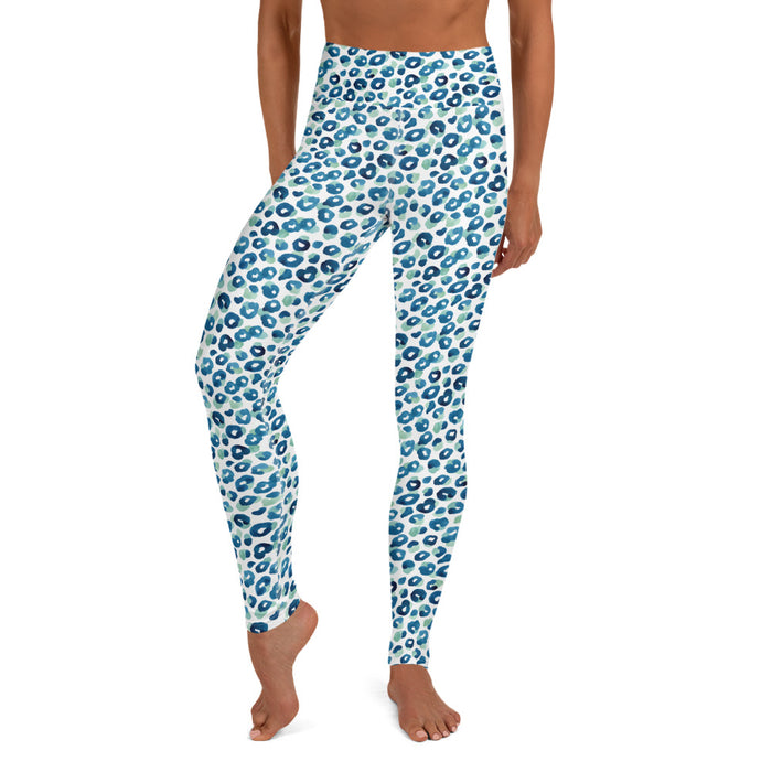 Stylish Planners Home Decor and Stylish Gifts - Aqua Spots - So Soft Adult Yoga Leggings (Matching Mommy + Me Design)