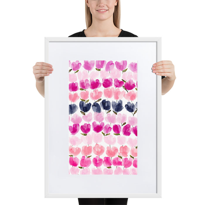 Pink Tulips - Framed Artwork With Mat