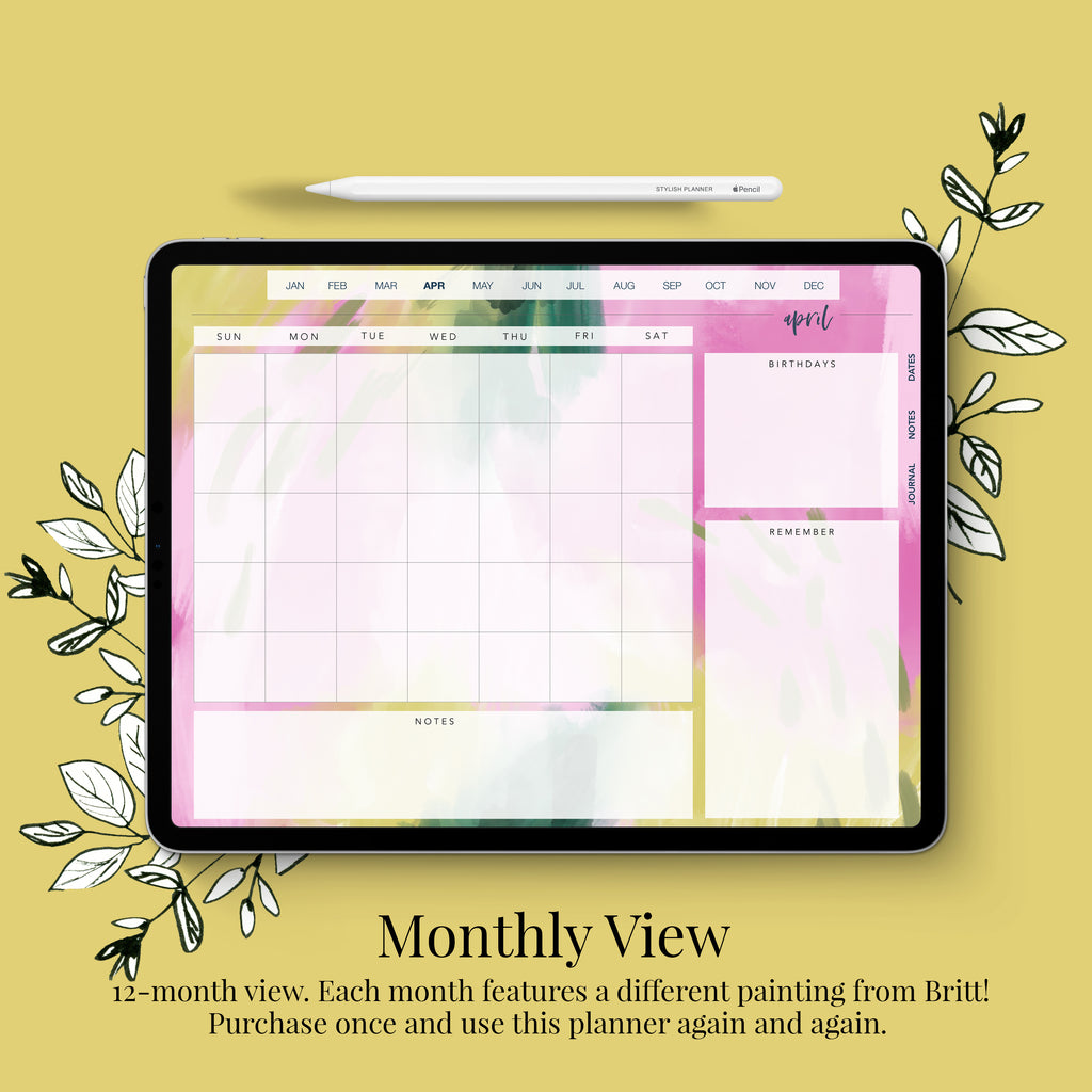 Undated Styled Bright Digital Planner - 12 months (Vertical Layout)
