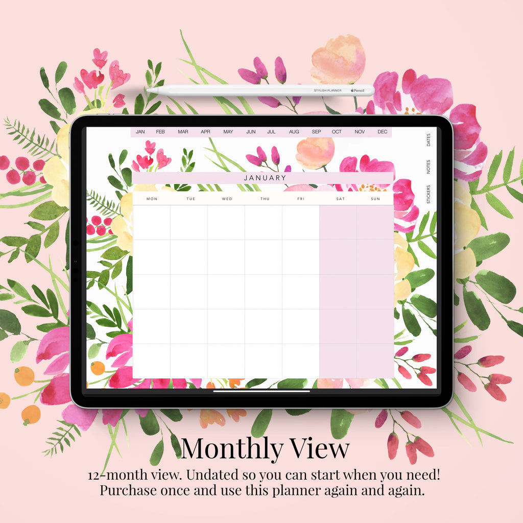 Stylish Planners Home Decor and Stylish Gifts - (GoodNotes File) Undated Pink Fields Deluxe Digital Planner - 12 months (Vertical Layout)
