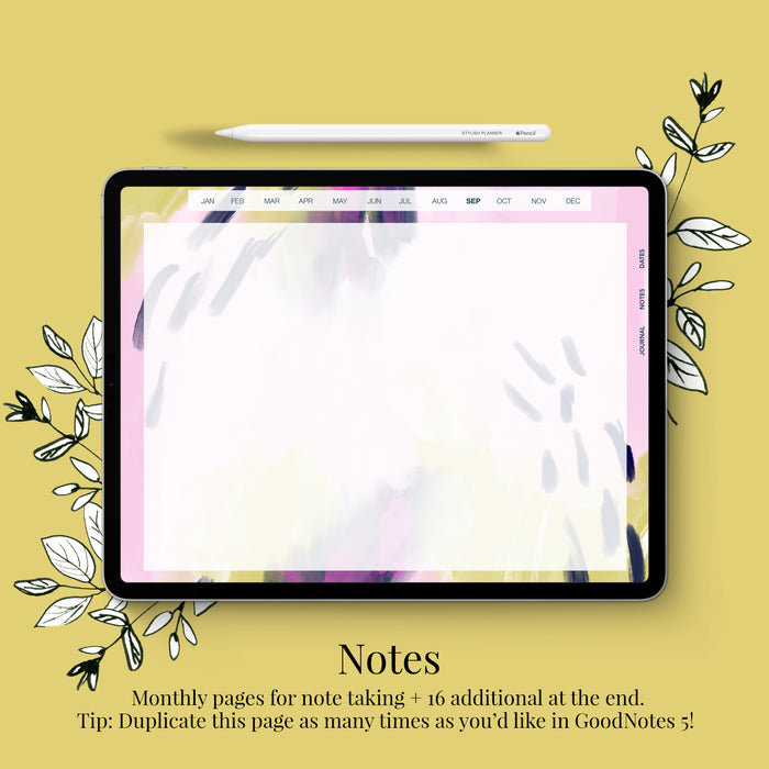 Stylish Planners Home Decor and Stylish Gifts - (GoodNotes File) Undated Styled Bright Digital Planner - 12 months (Vertical Layout)