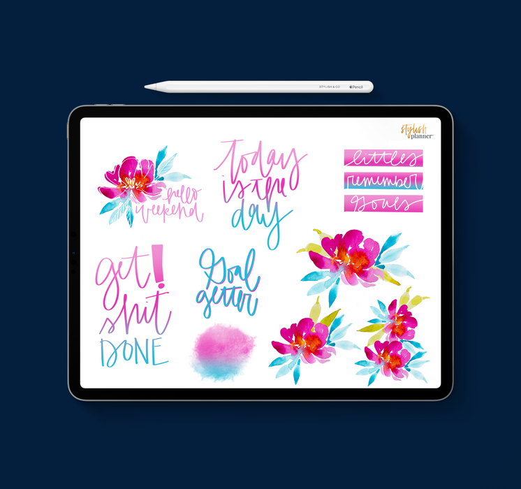 Stylish Planners Home Decor and Stylish Gifts - Polly Watercolor Digital Planner Stickers