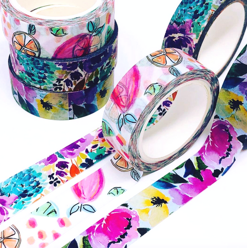 Watercolor Washi Tape Bundle - set of three (Hand-painted by Britt)