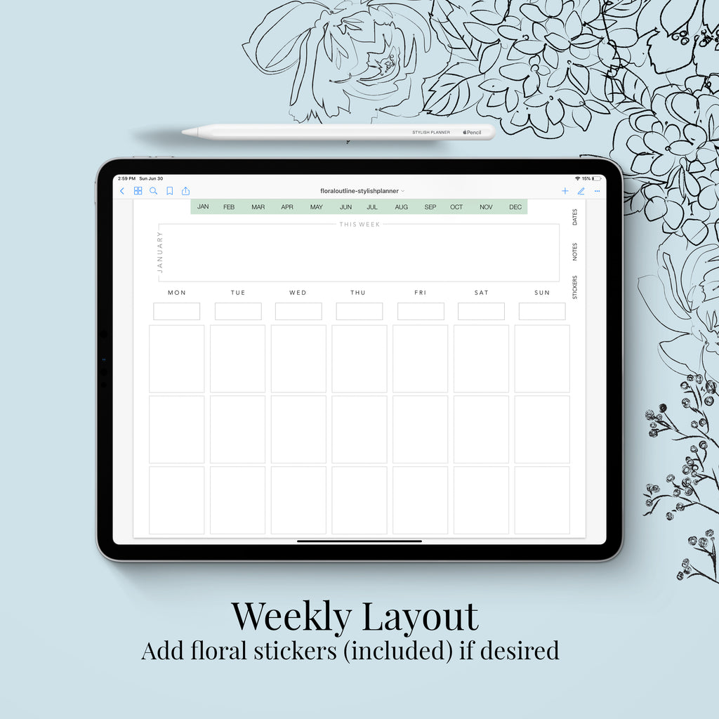 Stylish Planners Home Decor and Stylish Gifts - (GoodNotes File) Undated Outlined Floral Deluxe Digital Planner - 12 months (Vertical Layout)