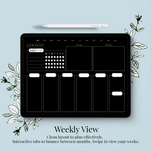Stylish Planners Home Decor and Stylish Gifts - (GoodNotes File) Undated Blackout Digital Planner - 12 months (Vertical Layout)