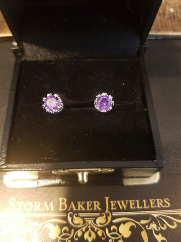Storm Baker Amethyst Crown Solitaire Stud Earrings