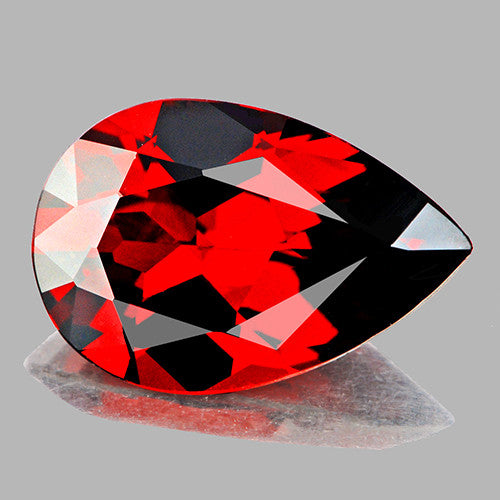 10x7 mm Pear (1.92cts) Natural Fire Red Mozambique Garnet