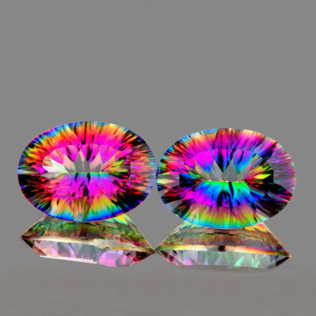 16x12mm Oval ConCave Cut AAA Multi Color Mystic Quartz Natural