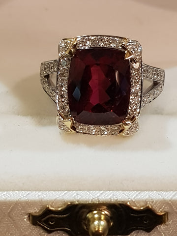 Luxury Natural Diamond and Rubellite 18K Gold Ring