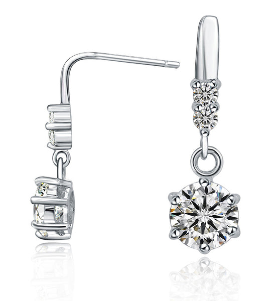 Classic Solitaire and Pave Drop Earrings