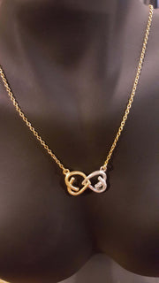 Necklace - 'Two Hearts' Silver & Brushed Gold - Marigold Collection