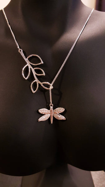 Necklace - 'Dragonfly Dreamer' Silver & Brushed Gold - Marigold Collection