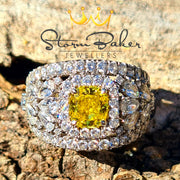 Yellow & White Diamond Band - Custom 0003