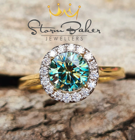 Teal Halo Ring - Custom 0076