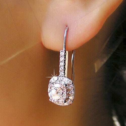 Cushion Cut Halo Drop Earrings