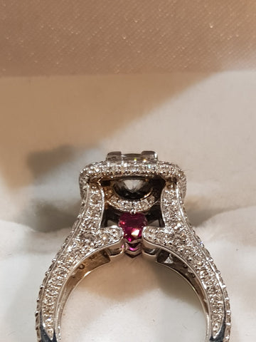 Aphrodite Luxury Natural Diamond and Ruby Ring