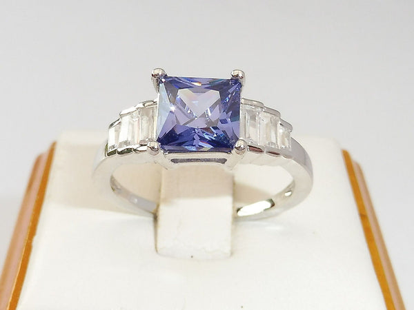 Art Deco Emerald Cut Intense Violet Blue Tanzanite