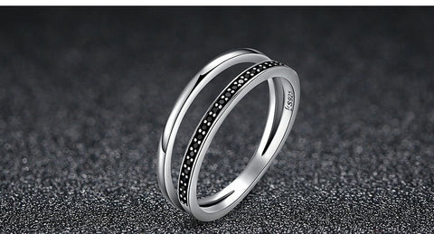 Black Crystal Double Band Ring