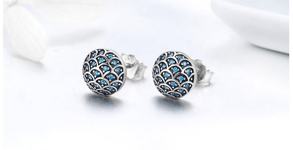 Blue Pave Domed Earrings