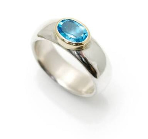London Blue Topaz Yellow Gold Bezel