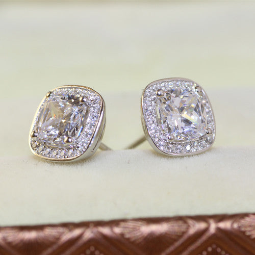 Cushion Cut Halo Earrings