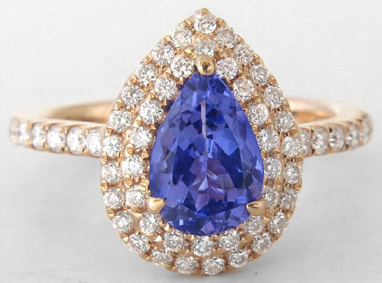 Tanzanite Double Halo Pear