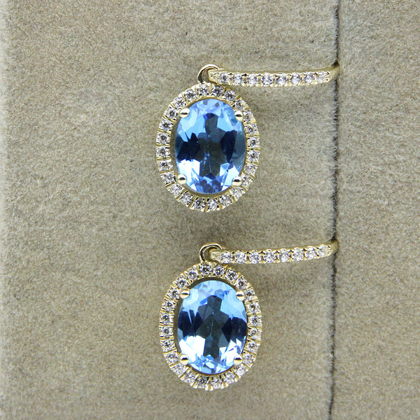 London Blue Topaz & Diamond Drop Earrings